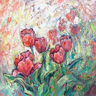 """Rhapsody in Bloom II"" Palette Knife Painting by Contemporary Impressionist Niki Gulley"