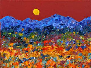 """Impressionism Landscape Painting """"Moon Dance"""" by Colorado Impressionist Judith Babcock"""