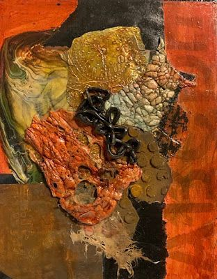 """Abstract Mixed Media Art, Contemporary Painting, """"DESIGN IN TEXTURE AND WARMTH"""" by Florida Contemporary Artist Mary Ann Ziegler"""
