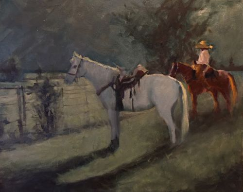 By the light of the moon by Margaret Aycock oil on 16x20 canvas