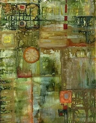"""Alcohol Inks, Contemporary Abstract Art Painting, """"HERB GARDEN"""" by New Orleans Artist Lou Jordan"""