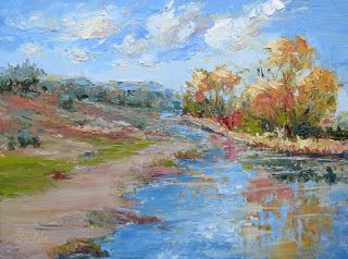 Reflections of Autumn, New Contemporary Landscape Painting by Sheri Jones