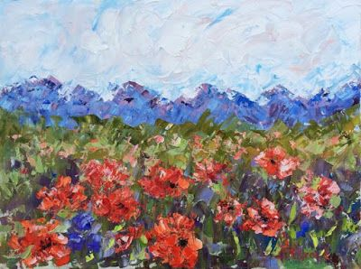 """Abstract Palette Knife Oil Poppy Flower Landscape Painting """"Picnic and Poppies"""