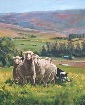 """Original Colorado Landscape Painting With Sheep """"A Fine Day in Meeker"""" by Colorado Artist Nancee Jean Busse, Painter of the American West"""