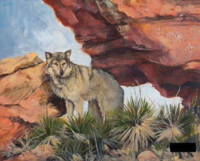 """Wildlife,Wolf Painting """"IN THE FOOTSTEPS OF THE ANCIENTS"""" by Painter of the American West Nancee Jean Busse"""