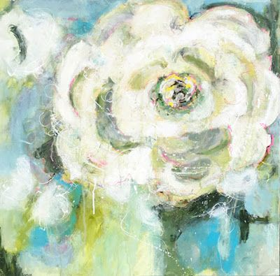 """Contemporary Floral Abstract Fine Art Painting, """"RIFF"""" by Contemporary Expressionist Pamela Fowler Lordi"""