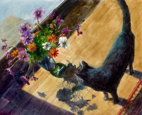 Watercolor Painting - Winter Cat Garden, and watercolor links for you