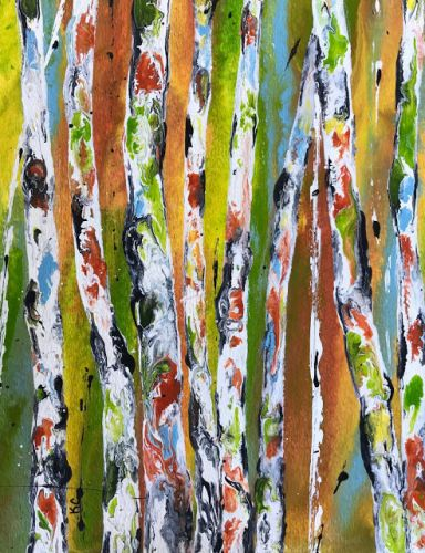 """Contemporary Abstract Aspen Tree Painting """"The Color Dance V"""" by International Contemporary Artist Kimberly Conrad"""