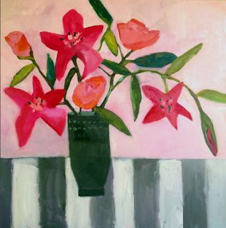 """Contemporary Abstract Still Life Flower Art Painting """"For Sentimental Reasons"""" by Santa Fe Artist Annie O'Brien Gonzales"""