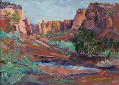 "Contemporary Impressionist Landscape Painting,Colorado Landscape, Fine Art Oil Painting,""Up Monument Canyon"" by Colorado Contemporary Fine Artist Jody Ahrens"