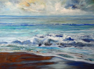 """Contemporary Seascape Painting, """"Beacon Of Light"""" by International Contemporary Artist Arrachme"""