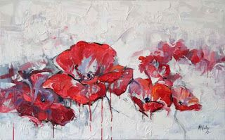 """""""Running Red"""" Textured Poppy Painting by Niki Gulley"""