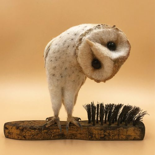 Felted Wildlife Perch on Found Objects in Charming Sculptures by Simon Brown