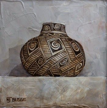 "Anasazi Pots, Still Life Art Painting ""Spiral Jar"" by Colorado Artist Nancee Jean Busse"
