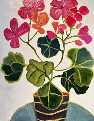 "Contemporary Abstract Still Life Flower Art ""Ghost Ranch Geraniums"" by Annie O'Brien Gonzales"