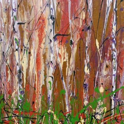 """Aspen Tree Painting, Contemporary Art, Abstract Landscape """"Enchanted Forest """" by International Contemporary Artist Kimberly Conrad"""