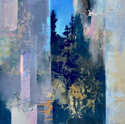 """Contemporary Landscape, Painting, Abstract Art """"EVENING APPROACHING"""" by Intuitive Artist Joan Fullerton"""