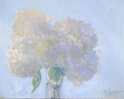 Floral Still Life, Hydrangea Painting, Second Bloom, Daily Painting, SOLD