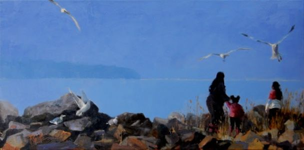 """""""Feeding the Gulls"""" oil, landscape painting by Robin Weiss"""