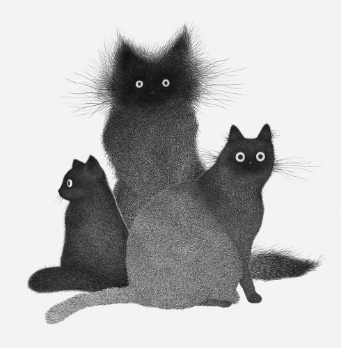 Frazzled Cats Formed From Hundreds of Hatched Lines by Luis Coelho