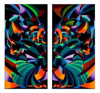 Mark Webster - The Gargoyles - Abstract Geometric Futurist Diptych