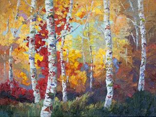 """Fall Carnival"" Palette Knife Aspen Tree Oil Painting by Contemporary Impressionist Niki Gulley"