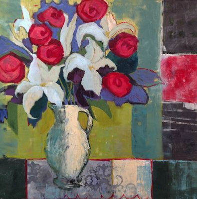 """Contemporary Abstract Still Life Art Painting """"LILIES AND RED ROSES"""" by Santa Fe Artist Annie O'Brien Gonzales"""