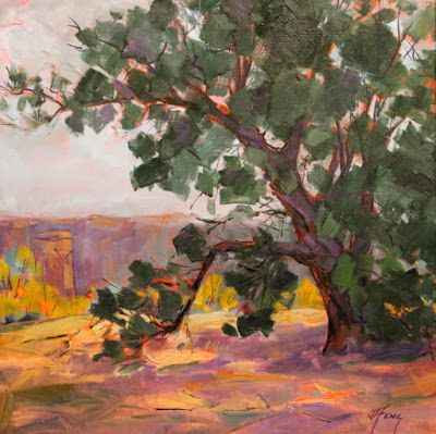 "Contemporary Impressionist Colorado Landscape Painting, Fine Art Oil Painting, Tree, ""Queen of the Plateau"" by Colorado Contemporary Fine Artist Jody Ahrens"