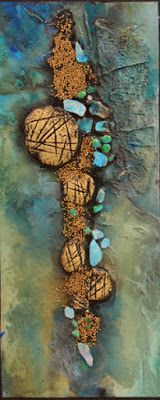 "Mixed media geologic abstract, ""Sediment"" by Mixed Media Artist Carol Nelson Fine Art"