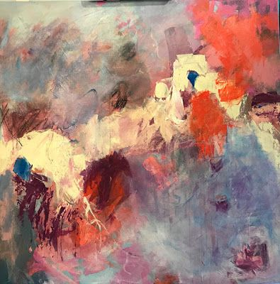 """Abstract Art, Expressionism, Contemporary Painting """"Suspended"""" by Oklahoma Artist Nancy Junkin"""