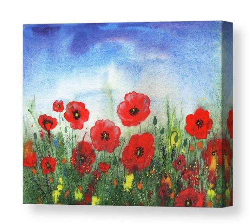 Red Poppies Field Watercolor On Handmade Paper