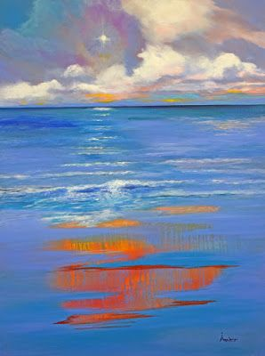 """Original Contemporary Abstract Seascape Painting """"The Secret of Heather"""" by International Contemporary Abstract Artist Arrachme"""