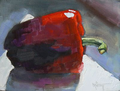 Red Pepper Still Life, Small Oil Painting, Daily Painting, Kitchen Art, Home Wall Decor SOLD