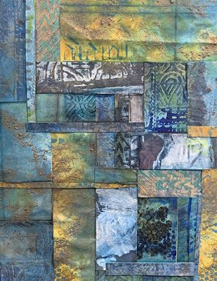 """Abstract Mixed Media Art, Contemporary Painting, """"PATCHWORK IN BLUE"""" by Florida Contemporary Artist Mary Ann Ziegler"""