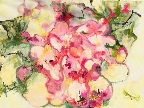 """Contemporary Abstract Expressionist Floral Painting """"FULL BLOOM"""" by Abstract Artist Pamela Fowler Lordi"""