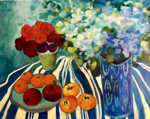 """Contemporary Expressionist Still Life Art,Bold Expressive Painting """"Pomegranates and Persimmons"""" by Santa Fe Artist Annie O'Brien Gonzales"""