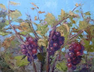 Grapes in the Garden, New Contemporary Landscape Painting by Sheri Jones