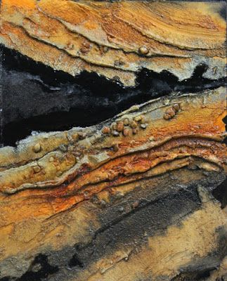 """Geologic Abstract Painting, Mixed Media Art """"Black Gold"""" by Mixed Media Artist Carol Nelson Fine Art"""