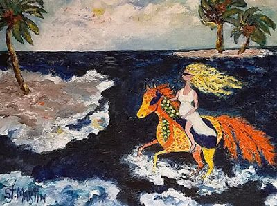 """Contemporary Coastal Painting, Woman on Horse """"Wild Ride"""" by Florida Impressionism Artist Annie St Martin"""