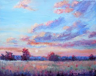 Just Peachy, New Contemporary Landscape Painting by Sheri Jones