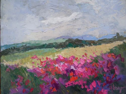 Summer Mountain Landscape Oil Painting, Daily Painting, Small Oil Painting, Palette Knife Artwork