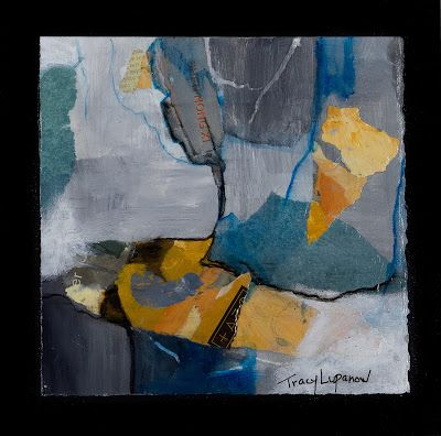 """Mixed Media Abstract Painting, Contemporary Art, Expressionism, """"River"""" by Contemporary Artist Tracy Lupanow"""