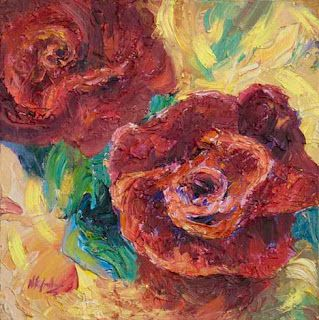 Palette Knife Red Roses oil painting by Contemporary Impressionist Niki Gulley