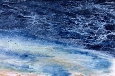 """Coastal Living Art Painting, Abstract Beach Art, Seascapes, Seascape Painting, Impressionist Seascape, Ocean Waves, Fine Art For Sale """"Late Afternoon Storm"""" by International Contemporary Artist Kimberly Conrad"""
