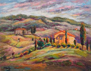 "New ""Perched on High"" Palette Knife Painting from Tuscany by Niki Gulley"