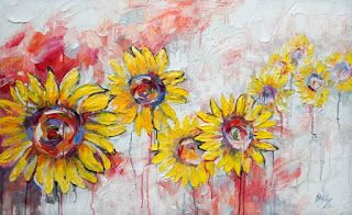 Large Sunflower Painting by Palette Knife Artist Niki Gulley