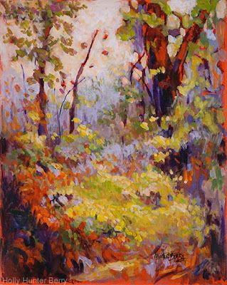 """Contemporary Colorful Landscape Painting, Mixed Media, Trees, Fine Art For Sale, """"WHISPERS OF THE TRUTH"""" By Passionate Purposeful Painter Holly Hunter Berry"""