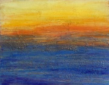"""Abstract Mixed Media Seascape Painting """"MANHATTAN BEACH SUNSET"""" by California Artist Cecelia Catherine Rappaport"""