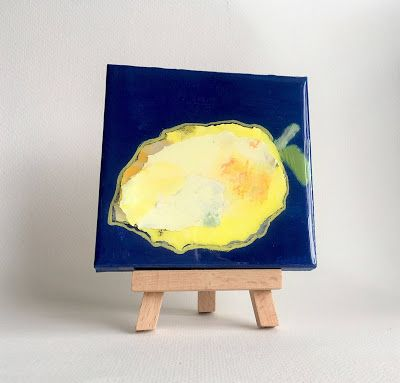"Summer Sale, Still Life, Resin, Textural Collage, Small Painting, Mixed Media ""PAPER LEMON"