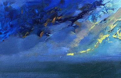 """Contemporary Seascape, Fluid Abstract Painting """"Ocean Madness"""" by Colorado Artist Susan Fowler"""
